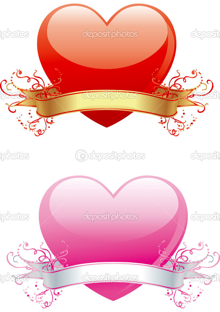 Vector illustration of two hearts with ribbon and  ornament for valentine's day  Stock Vector #8213859