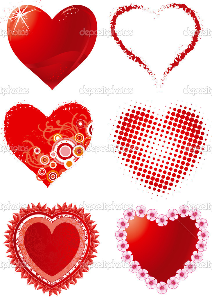 Vector set of hearts for Valentine's day — Stock Vector #8214031