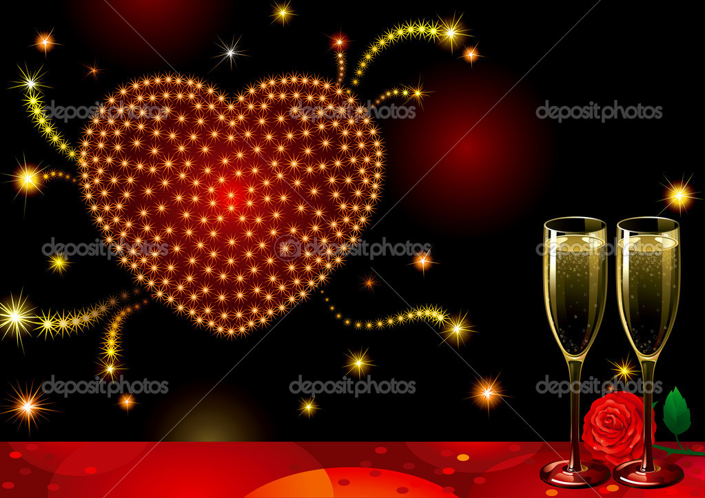 Vector holiday background with two Champagne Flutes, many stars and heart at shape of fireworks on night dark sky.  — Stock Vector #8338072