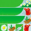 Gardening banners and icons — Stock Vector