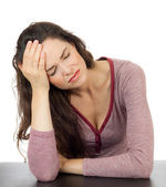 Beautiful woman with terrible headache — Stock Photo