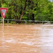 Very flooded road and give way sign - Stock Photo