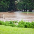 Flooded soccer field - Stock Photo