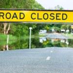 camino cerrado señal de tráfico en una carretera inundada — Foto de Stock   #10391870