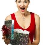 Beautiful young woman opening gift box — Stock Photo #10392975
