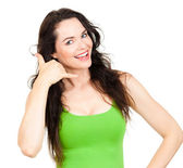 Young pretty woman symboling 'call me' — Stock Photo