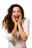 Beautiful young surprised woman — Stock Photo