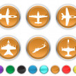 Stock Vector: Plane icons,each color icons set is on different layer