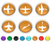 Plane icons,each color icons set is on a different layer — Stock Vector