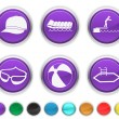 Vacation icons,each color icon is set on a different layer — Imagen vectorial