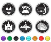 Vacation icons,each color icon is set on a different layer — Stock Vector