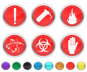 Danger icons,each color icons is set on a different layer — Stock Vector