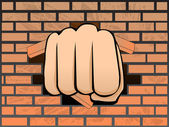 Breaking a wall of brick — Stock Vector