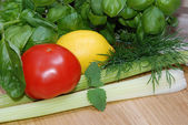 Vegetables, fruits and herbs — Stock Photo