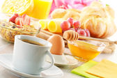 Breakfast with coffee, rolls, egg, orange juice, muesli and chee — Stock Photo