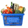 Shopping basket and groceries isolated on white — Stock Photo #8756344
