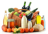 Raw food including vegetables, fruits, bread and wine — Stock Photo