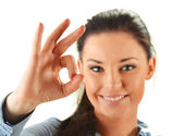Young attractive woman showing ok isoleated on white — Stock Photo