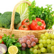 Composition with vegetables and fruits in wicker basket isolated — Stock Photo #9005978