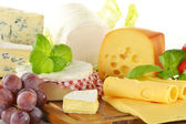 Composition with pieces of cheese on breadboard — Stock Photo