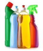 Botellas de detergente aisladas en blanco — Foto de Stock