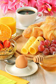 Composition with breakfast on the table — Stock Photo