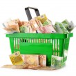 Composition with Euro banknotes in shopping basket - Stockfoto