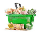 Composition with Euro banknotes in shopping basket — Stock Photo