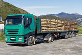 Truck transporting logs — Stockfoto