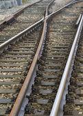 Closeup of rail-way crossings — Stock Photo