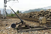 Old weathered rusty grungy railroad points switch — Stock Photo