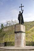 Rey pelayo (rey cristiano de asturias) en el santuario de covadonga, asturias, españa — Foto de Stock