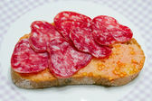 Frotté de tomates de style catalan, sur le fléau du style rural. — Photo