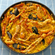 Paella Valenciana, typical food of Spain — Stock Photo