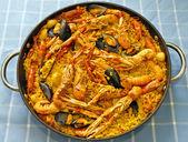 Paella Valenciana, typical food of Spain — Stock Photo