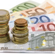 Close-up of Euro banknotes and coins — Stock Photo #8901960