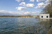 Lake Banyoles, Spain Girona, Panoramic Photography at sunset. — Stock Photo