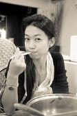 Asian thai attractive women dinner concept — Stock Photo