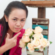 Asian thai attractive woman in red shirt isolate on white — Stock Photo