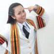 Stock Photo: Asithai attractive Graduate female student - thinking concept