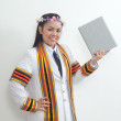 Asian thai attractive Graduate female student - holding diploma — Stock Photo