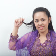 Asian thai female in purple muslim dress - banduang — Stock Photo
