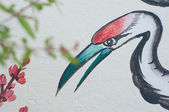 Chinese heron painting on wall in chinese temple — Stockfoto