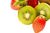 Kiwi and strawberry isolated over white background — Stock Photo