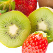 Royalty-Free Stock Photo: Kiwi and strawberry isolated over white background