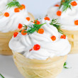 Homemade cakes with white cream - Stock Photo