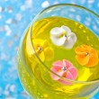 Sugar flowers in a glass with a yellow jelly — Stock Photo