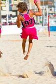 Match of the 19th league of beach handball, Cadiz — Stock Photo