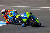 Moto2 pilot Renaud Binoche and Juan David Lopez — Stock Photo