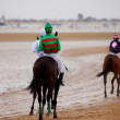 Horse race on Sanlucar of Barrameda, Spain, August  2010 - Stockfoto